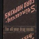 STINEWAY - FORD HOPKINS Drug Stores - Vintage Matchbook Cover