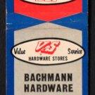 BACHMAN HARDWARE - Park Ridge, Illinois - 1960s Vintage Matchbook Cover