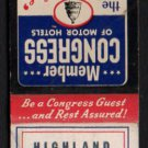 HIGHLAND MOTEL - New Cumberland, Pennsylvania - 1950s(?) Vintage Matchbook Cover