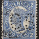 "QUEENSLAND Postage Stamp - 1907 - 2p Queen Victoria (Sc. #133) - Used ""O S"" Perfin"