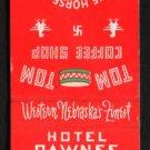 HOTEL PAWNEE - North Platte, Nebraska - Vintage Matchbook Cover