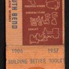 SOUTH BEND LATHE WORKS - South Bend, Indiana - 1957 Vintage Matchbook Cover