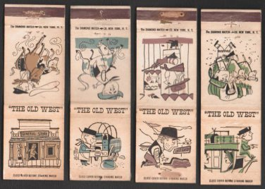 THE OLD WEST - Diamond Match Co. - 7 Vintage Matchbook Covers
