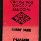 CHARM MOTEL - Burney, California - 1980s Vintage Matchbook Cover
