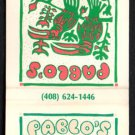 PABLO'S MEXICAN RESTAURANT - Carmel, California - 1980s Vintage Matchbook Cover