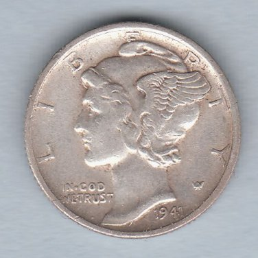 1941-S Mercury Dime (U.S. Coin - 90% Silver) - Circulated