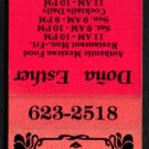 DOÑA ESTHER Mexican Restaurant - San Juan Bautista, California - 1980s Vintage Matchbook Cover