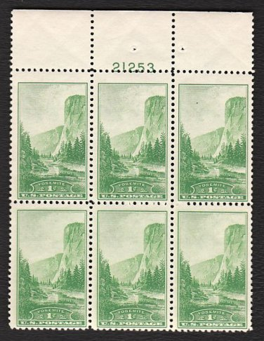 1934 National Parks 1¢ Yosemite (Sc. #740) Plate Block (#21253 top) - MNH