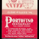 PORTOFINO ITALIAN RESTAURANT - Bermuda - 1970s(?) Vintage Matchbook Cover
