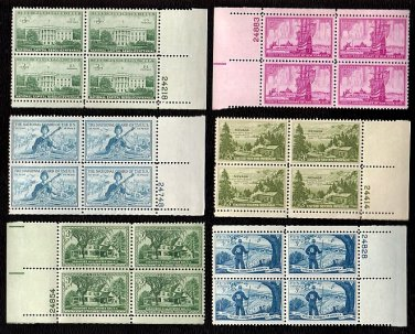 1950-59 - 20 Different 3¢ Commemorative Plate Blocks