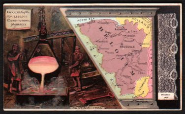 1889 Victorian Trade Card - Arbuckle Brothers Coffee Company - Map of BELGIUM (#60)