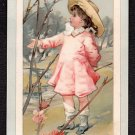 PRANG - Victorian EASTER Greeting Card - little girl, blue bird, flowering tree