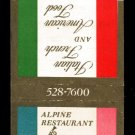 ALPINE RESTAURANT - Arlington, Virginia - 1970s Vintage Matchbook Cover
