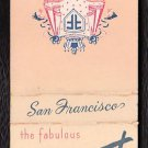 FAIRMONT HOTEL - San Francisco, California - 1950s Vintage Matchbook Cover