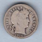 1916 Barber Dime (U.S. Coin - 90% Silver) - Circulated