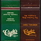CLYDE'S Restaurant and Bar - Washington, D.C. / Columbia, Maryland - 1970s Matchbook Covers (2)