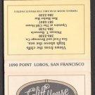 The CLIFF HOUSE Restaurant - San Francisco, California - Matchbook Cover