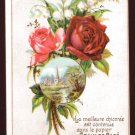 DUROYON & RAMETTE Victorian Trade Card - pink and red roses, church steeple