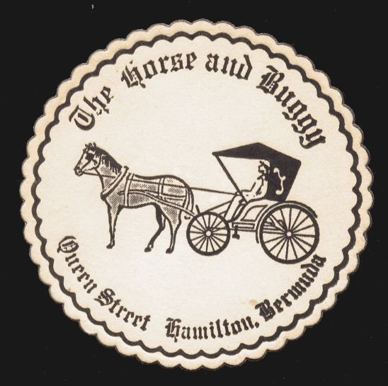 THE HORSE AND BUGGY, Hamilton, Bermuda - 1970s(?) Illustrated Beverage Coaster
