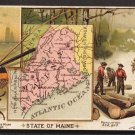 1889 Victorian Trade Card - Arbuckle Brothers Coffee Company - Map of MAINE (#52)