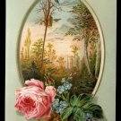 "Victorian Greeting Card - ""A good NEW YEAR to you"" - pink rose, small blue birds"