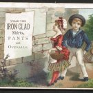IRON CLAD Shirts, Pants and Overalls - Victorian Trade Card - children, basket