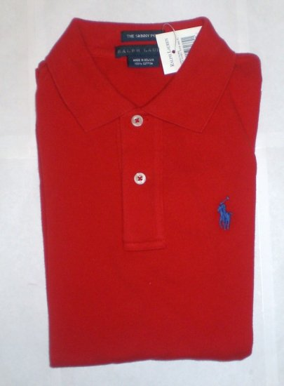 NEW RALPH LAUREN WOMENS SKINNY POLO SHIRT XS L/S NWT RED FREE SHIP