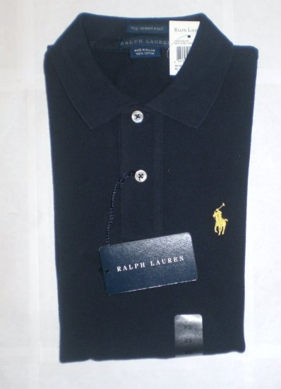 NEW RALPH LAUREN WOMENS SKINNY POLO SHIRT XS L/S NWT NAVY BLUE FREE SHIP