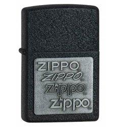 ZIPPO 363 PEWTER EMBLEM BLACK CRACKLE LIGHTER