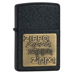 ZIPPO 362 BRASS EMBLEM BLACK CRACKLE LIGHTER