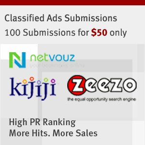 100 classified for $50, weekly submission at 50% off