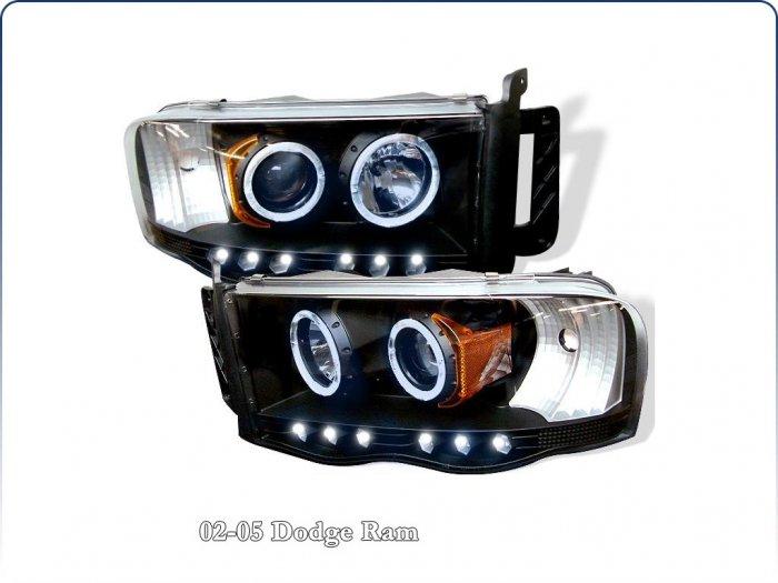 Spyder: 02-05 Dodge Ram; Projector Headlights, Black