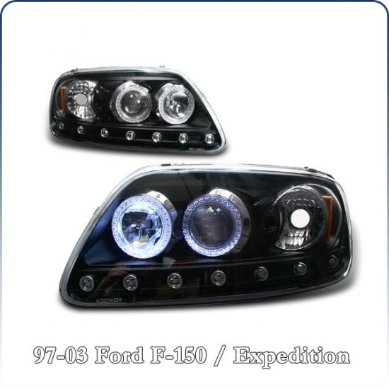 97-02 Ford Expedition; Projector Headlights, Black