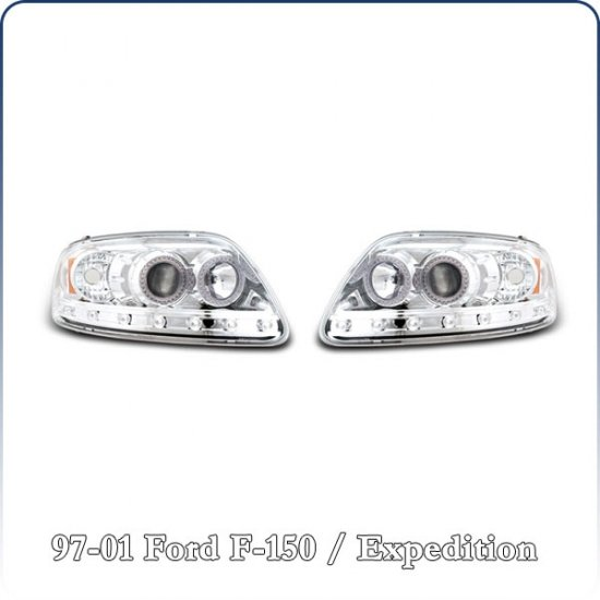 97-02 Ford Expedition; Projector Headlights, Chrome (04)