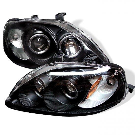 Spyder: 99-00 Honda Civic, Projector Headlights (Black)