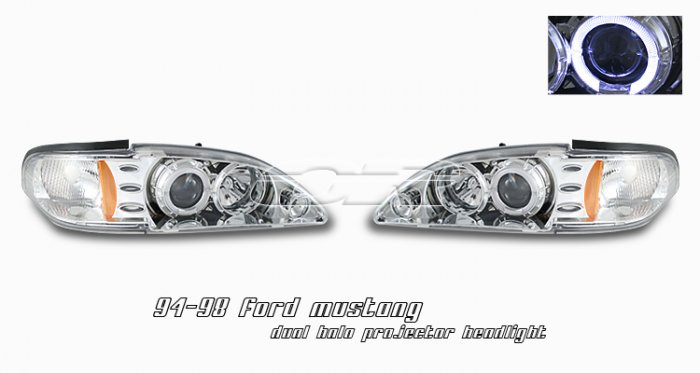 94-98 Ford Mustang, Projector Headlights, Chrome