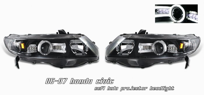 06-08 Honda Civic 2Dr, Projector Headlights, Black CCFL