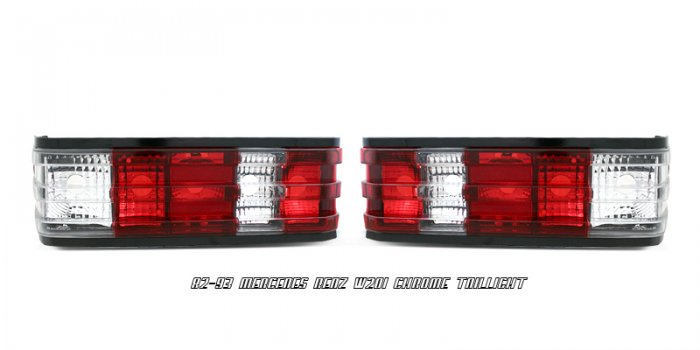 82-93 Mercedes C-Class (W201), Euro Tail Lights, Red
