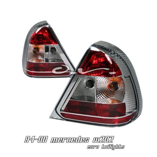 94-00 Mercedes C-Class (W202), Euro Tail Lights, Red