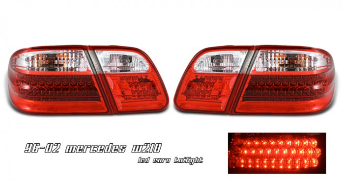 96-02 Mercedes E-Class (W210), LED Tail Lights, Red / Smoked