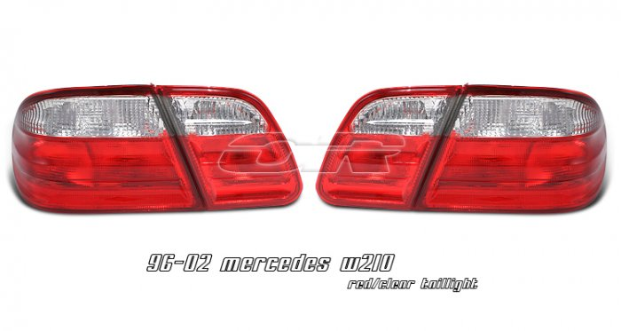 96-02 Mercedes E-Class (W210), Euro Tail Lights, Red