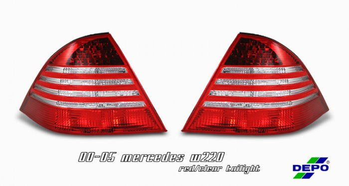 00-05 Mercedes S-Class (W220), Euro Tail Lights, Red