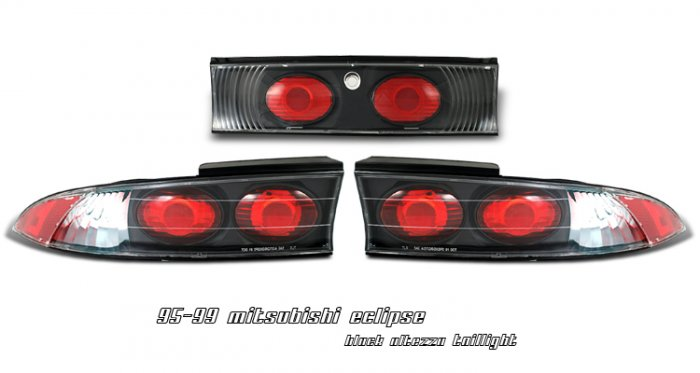 95-99 Mitsubishi Eclipse, Altezza Tail Lights, Black