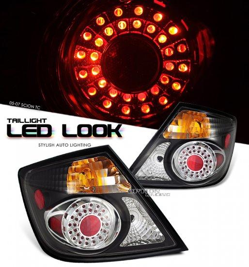 04-09 Scion TC, LED/SED Tail Lights, Black / Chrome