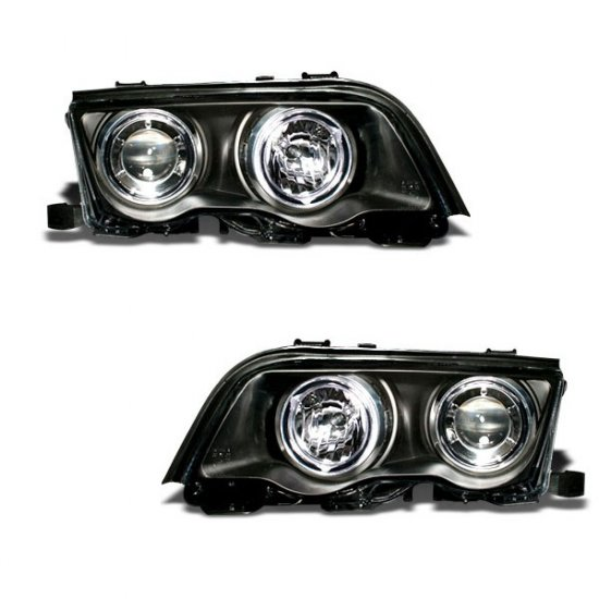 99-01 BMW 3-Series E46; Projector Headlights, Black
