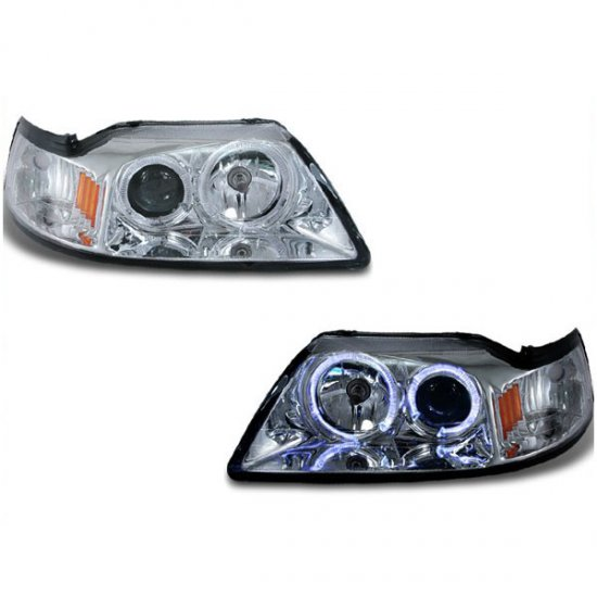 99-04 Ford Mustang, Projector Headlights, Chrome