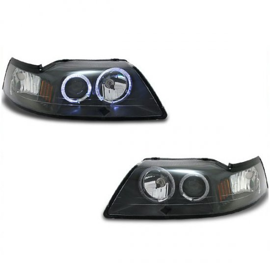 99-04 Ford Mustang, Projector Headlights, Black