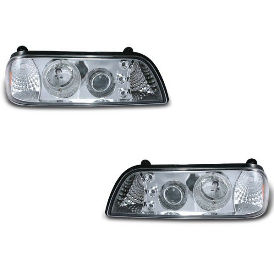 87-93 Ford Mustang, 1PC Projector Headlights, Chrome