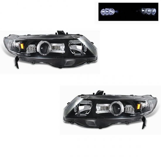 06-08 Honda Civic 2Dr, Projector Headlights, Black
