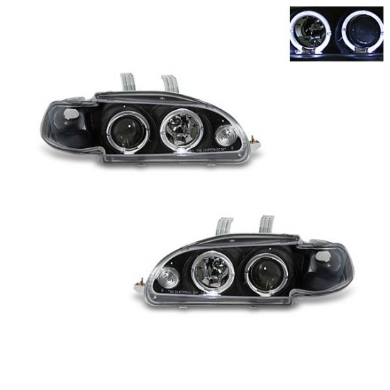 92-95 Honda Civic 2Dr/3Dr, Projector Headlights (Black)